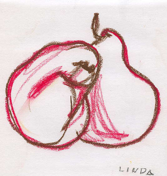 Pears Drawing - 2 Of Hearts by Linda DiGusta