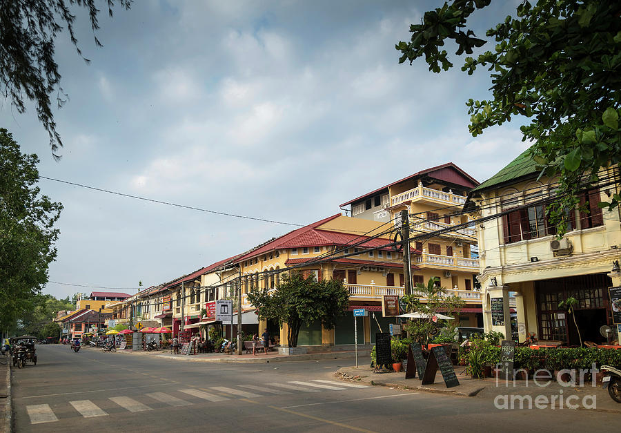 Old French Colonial Architecture In Kampot Town Street Cambodia