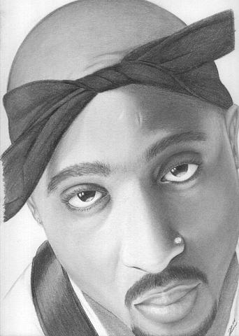 Portrait Drawing - 2 Pac by David Rios