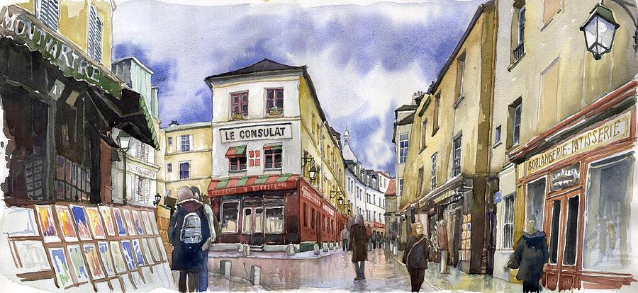 Watercolour Painting - Paris Montmartre  by Yuriy  Shevchuk