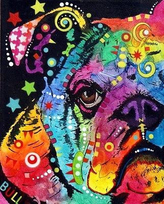 dean Russo Painting Dog Dogs Portrait Graffiti pop Art Pet Etsy Bulldog bull Dog Bullie Bully Painting - Peeking Bulldog by Dean Russo