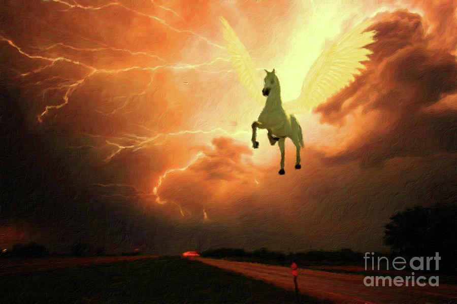 Pegasus Painting - Pegasus By Mary Bassett by Esoterica Art Agency