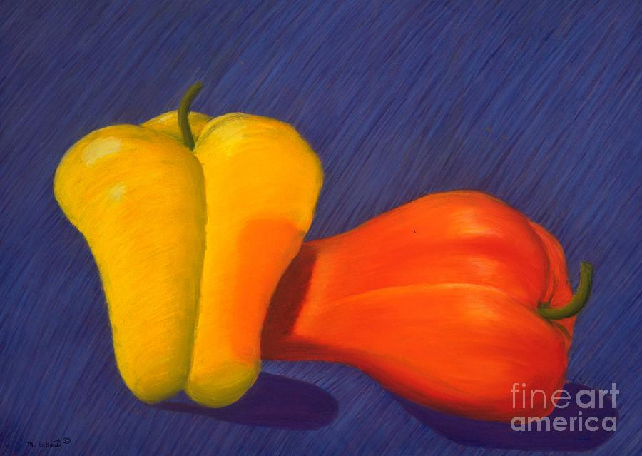 Vegetable Painting - 2 Peppers by Mary Erbert