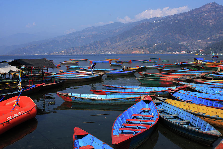 D Color Boats On Phewa Lake Pokhara Art Print Home Decor Wall Art Poster
