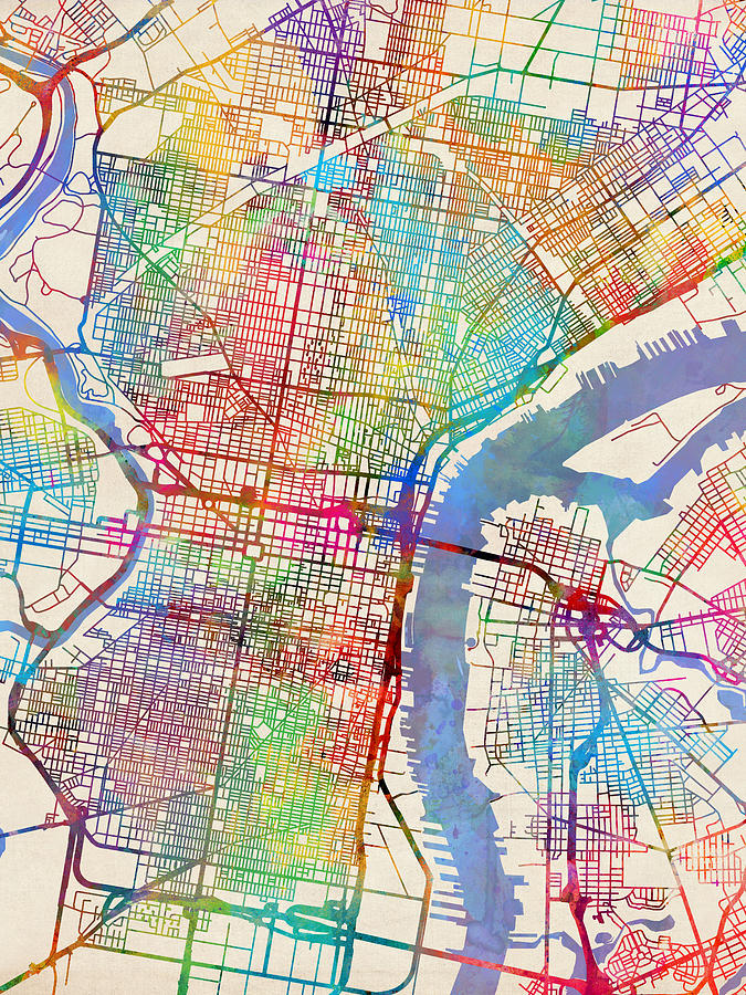 Philadelphia pennsylvania city street map digital art by michael city map digital art philadelphia pennsylvania city street map by michael tompsett freerunsca Gallery