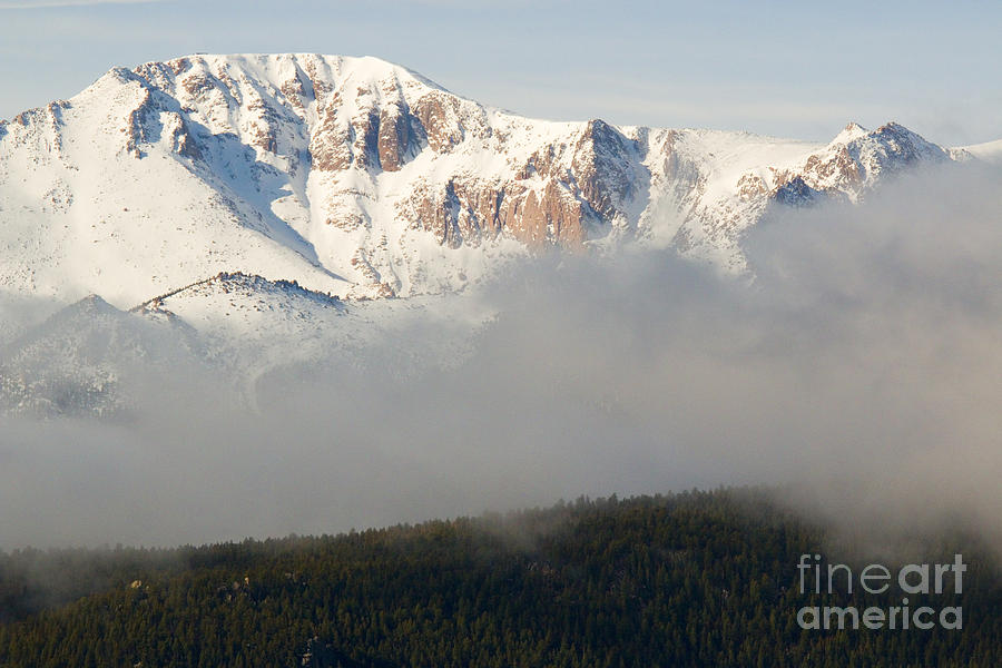 Pikes Peak As Storm Clouds And Fog Roll In Photograph