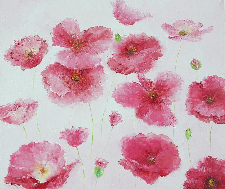 Poppies Painting - Pink Poppies by Jan Matson