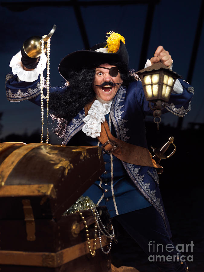 Pirate Photograph - Pirate With A Treasure Chest by Oleksiy Maksymenko