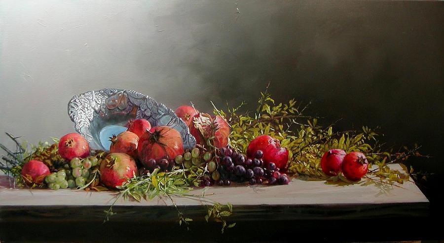 Pomegranates Painting - Pomegranates With Grapes by Demetrios Vlachos