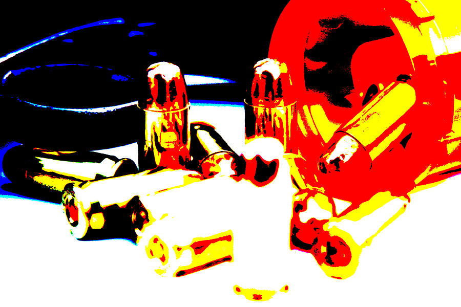 Bullets Photograph - Pop Art Of .45 Cal Bullets Comming Out Of Pill Bottle by Michael Ledray