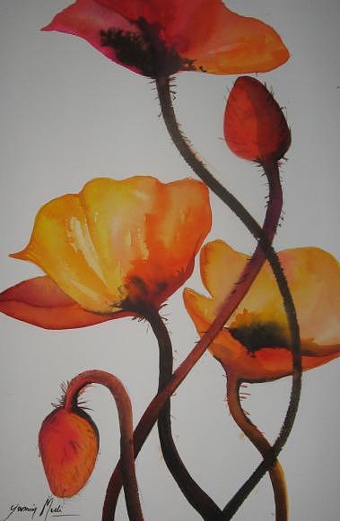 Flowers Painting - Poppies by Yasmin  Modi