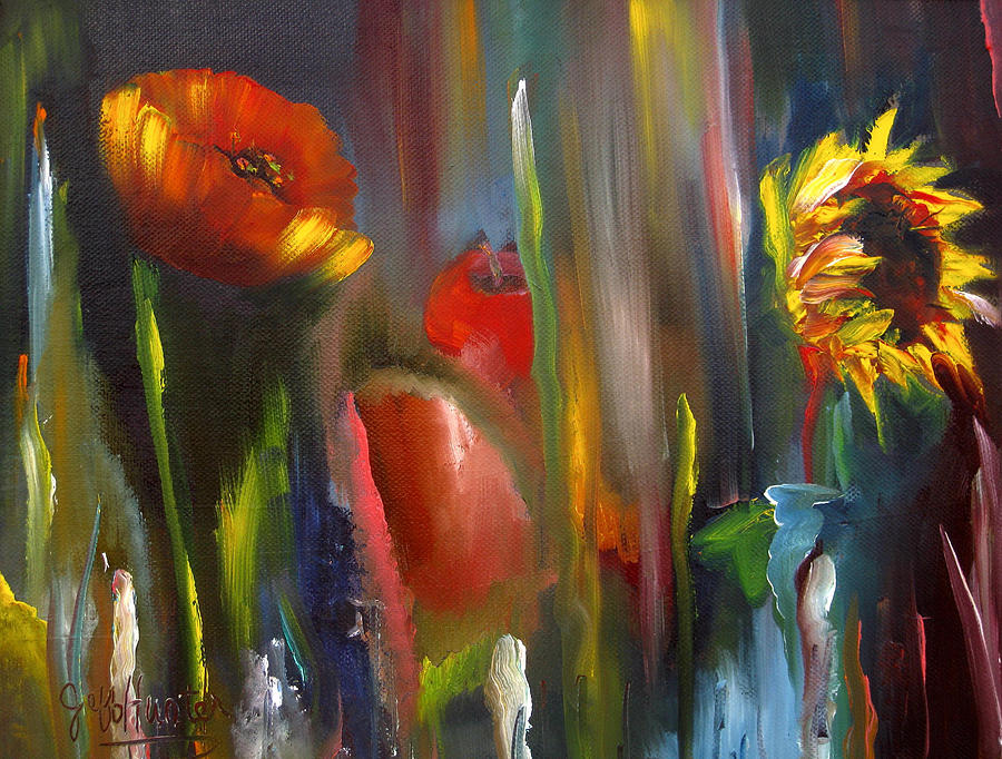 Poppy Painting - Poppy And Sunflower by Jeff Hunter