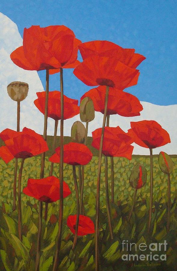 Poppies Painting - Poppy Flowers by Ludmila Kalinina
