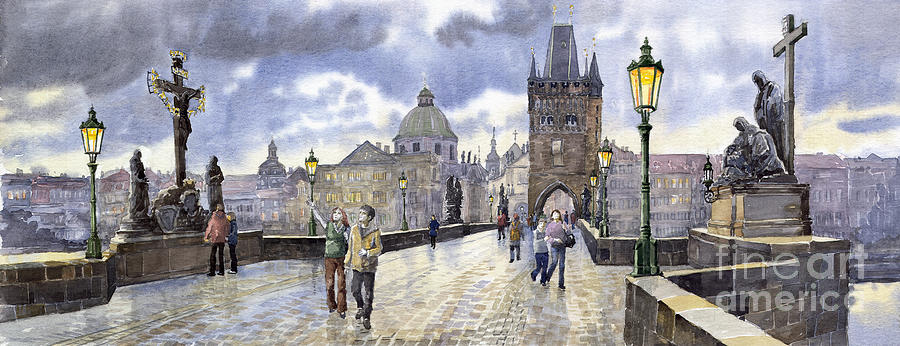 Watercolour Painting - Prague Charles Bridge 2 by Yuriy Shevchuk
