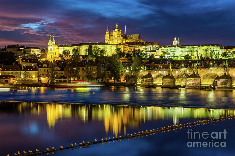 Charles Bridge Photograph - Prague Skyline At Sunset by Travel and Destinations - By Mike Clegg