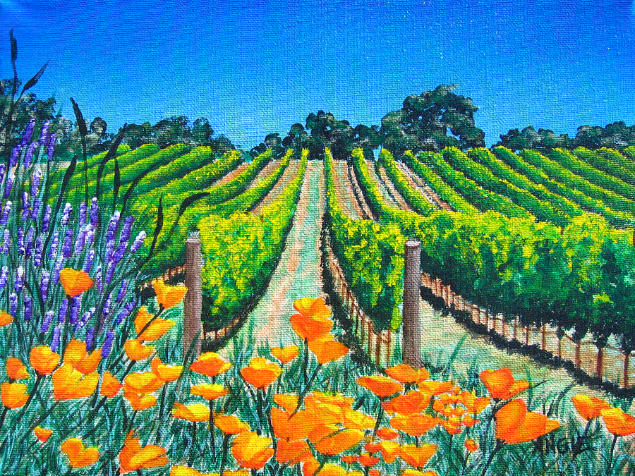 Vineyard Painting - Presidio Vineyard by Angie Hamlin