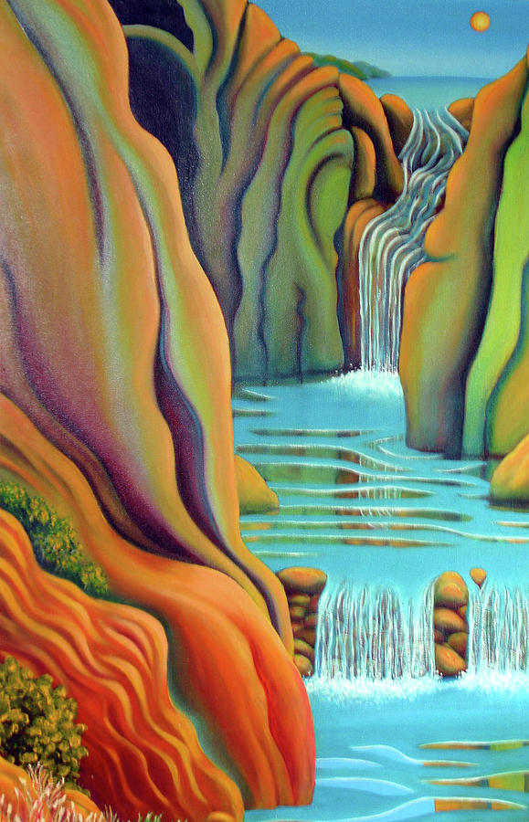 Water Painting - Prosperity Waterfall 2 by Barbara Stirrup