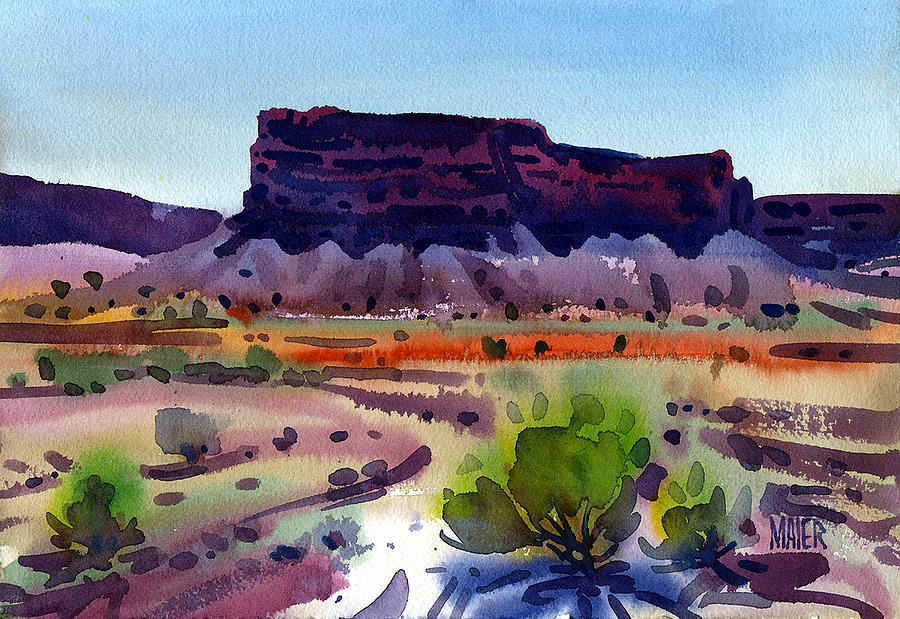 Buttes Painting - Purple Butte by Donald Maier