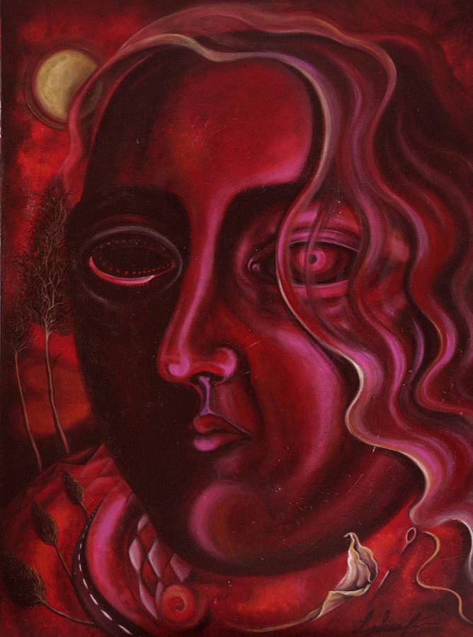 Red Painting - Queen Of Hearts by Lina Scarfi