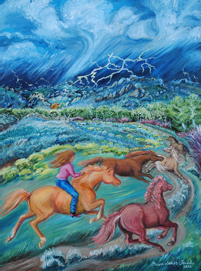 Landscape Painting - Racing The Lightning Home by Dawn Senior-Trask