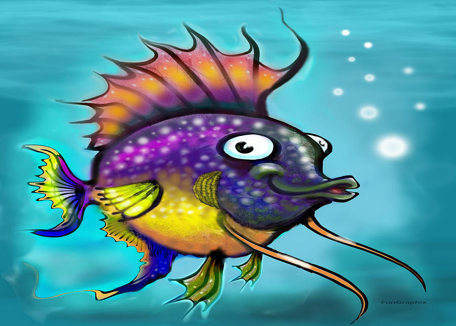 Rainbow Painting - Rainbow Fish by Kevin Middleton