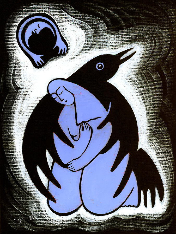 Raven Painting - Raven Holds Me When I Weep by Angela Treat Lyon