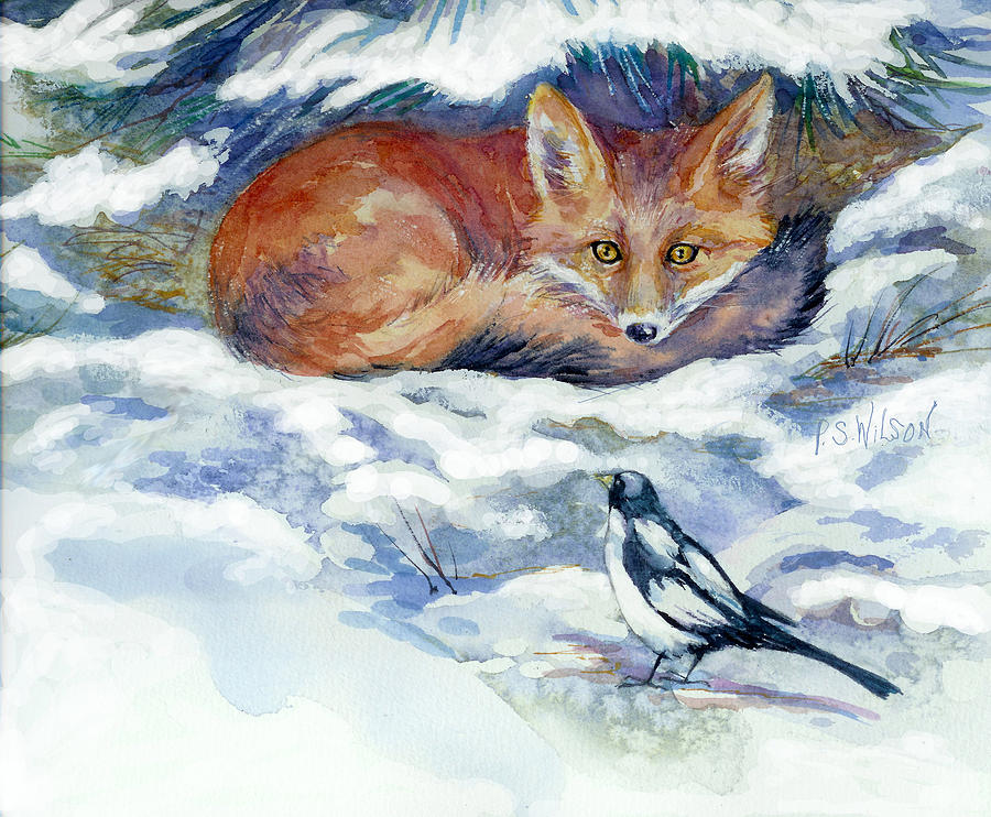 Red Fox Painting - Red Fox With Magpie by Peggy Wilson