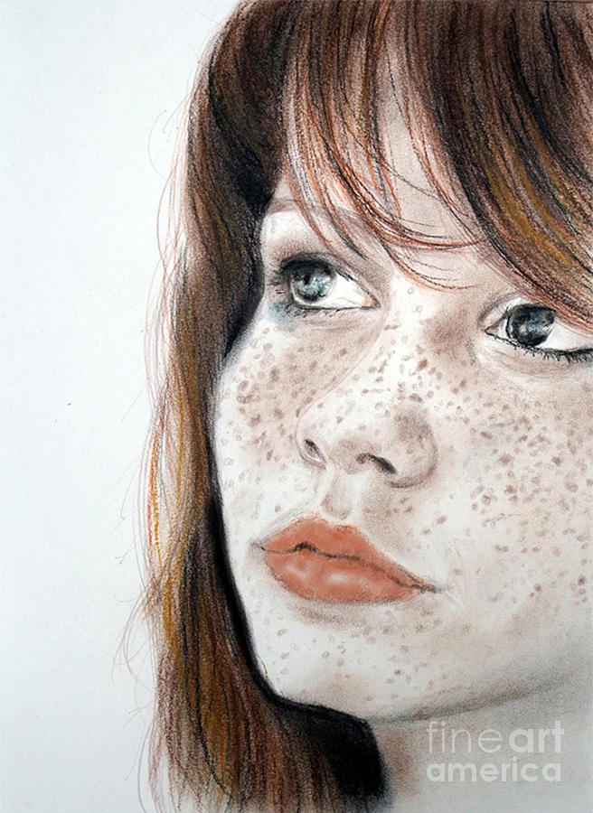 Red Hair Pastel - Red Hair And Freckled Beauty by Jim Fitzpatrick