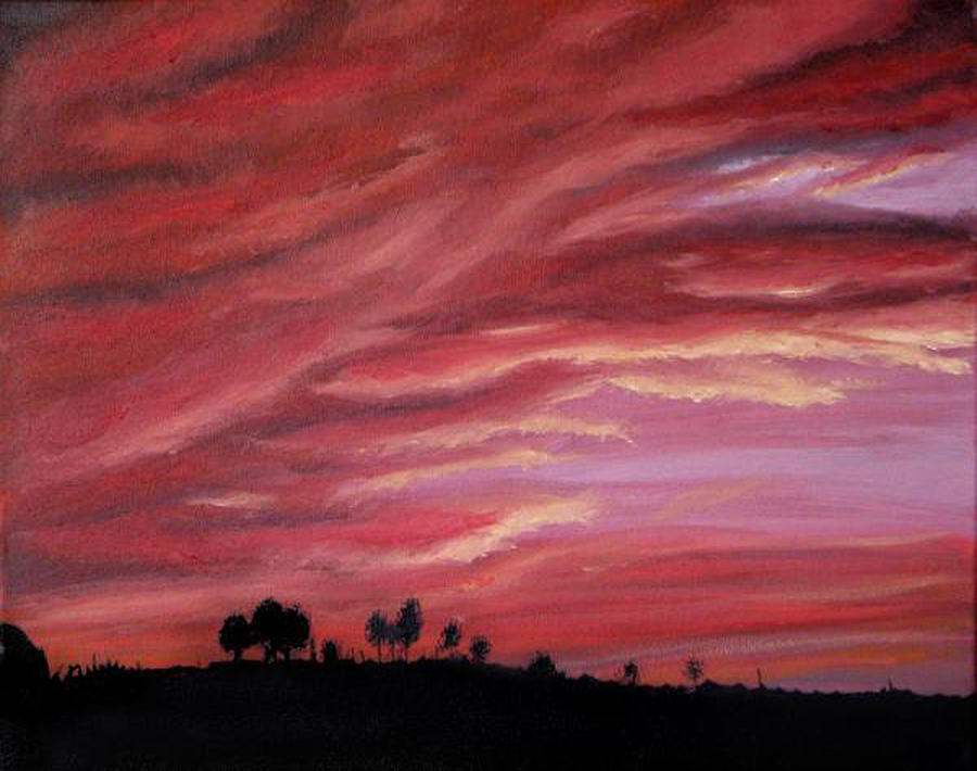 Landscape Painting - Red Skies by Michelle Fayant