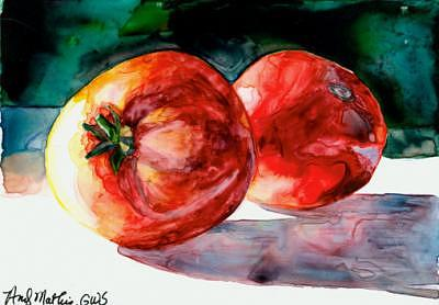 Yupo Painting - 2 Red Tomatoes On Yupo by Andy  Mathis