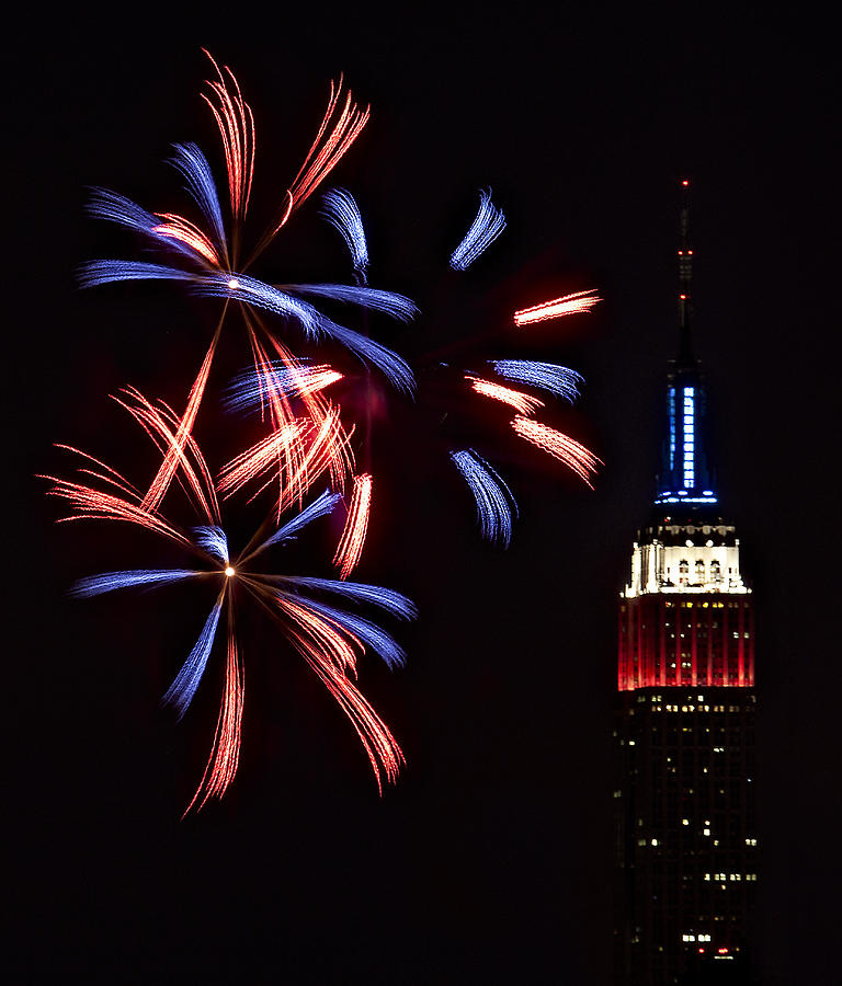 Empire State Building Photograph - Red White And Blue by Susan Candelario
