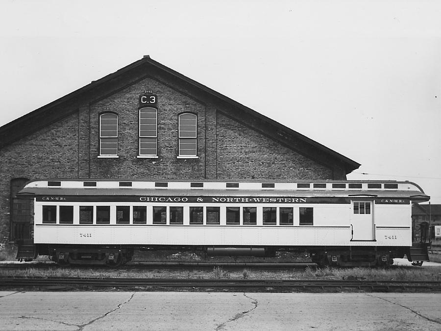 Passenger Trains Photograph - Refurbished Car 7411 - 1960 by Chicago and North Western Historical Society