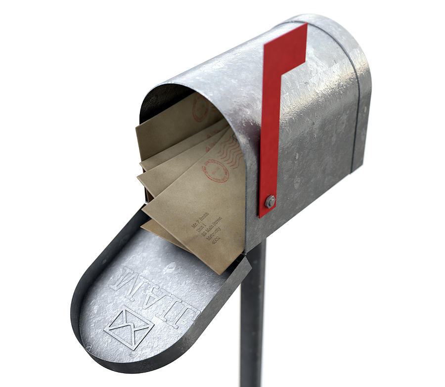 Retro Digital Art - Retro Mail Box And Letter Stack by Allan Swart
