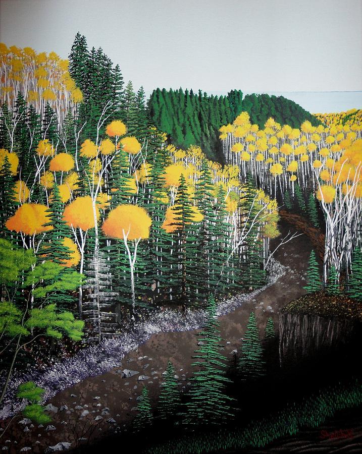 Landscape Painting - River Through Golden Forest by Dan Shefchik