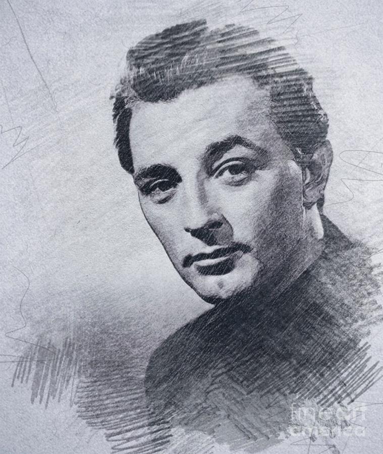 Robert Mitchum, Vintage Actor Drawing