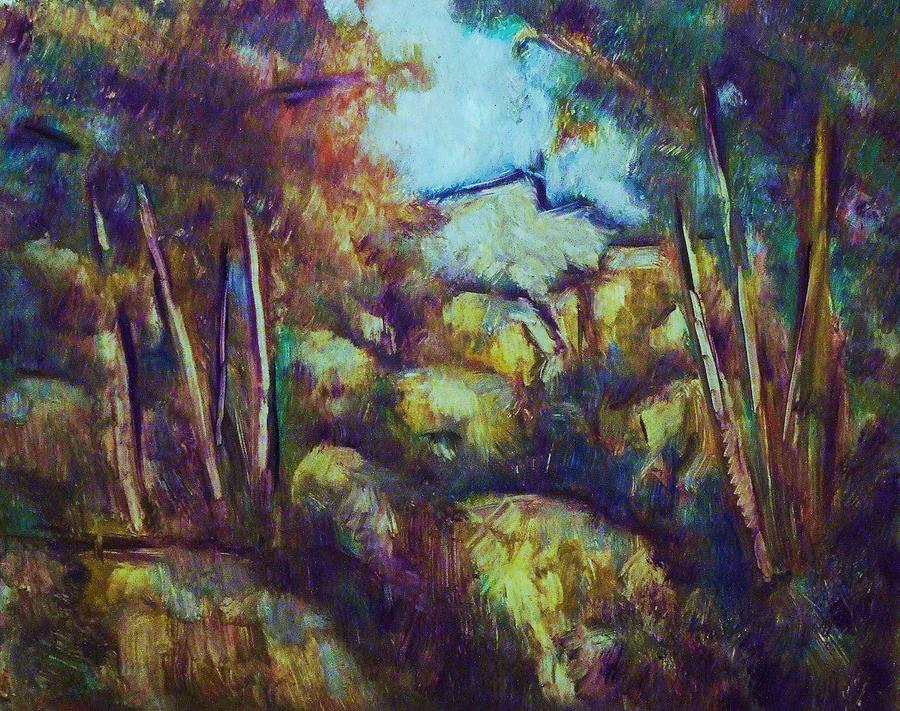 Landscape Painting - Rocks And Trees by Jean pierre  Harixcalde