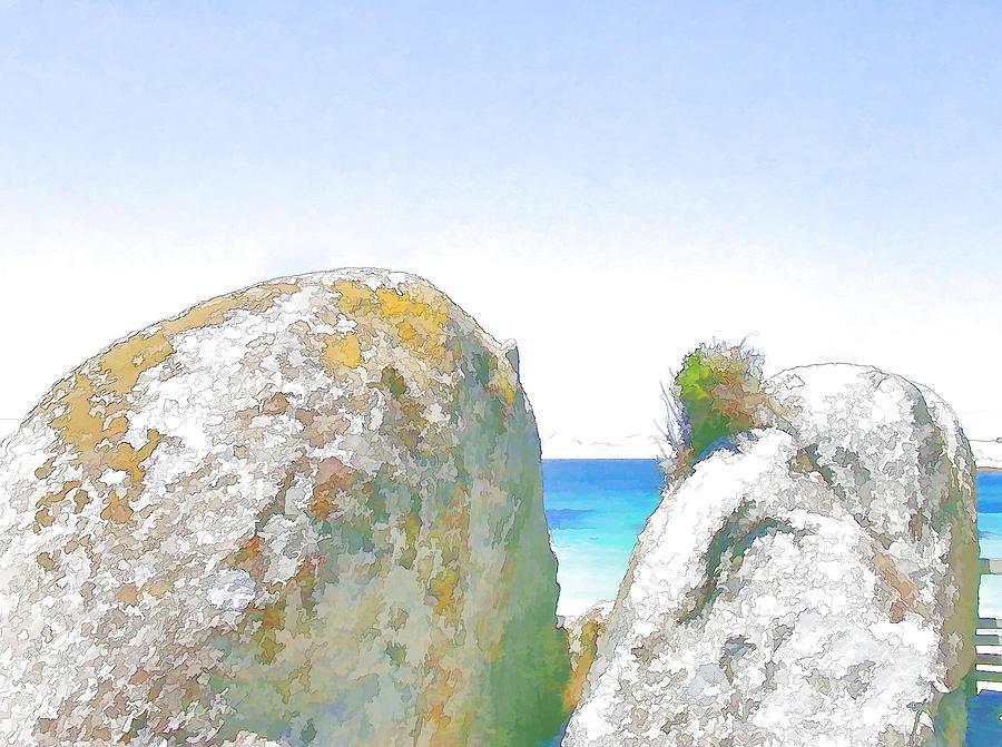 Seascape Digital Art - 2 Rocks By The Sea by Jan Hattingh