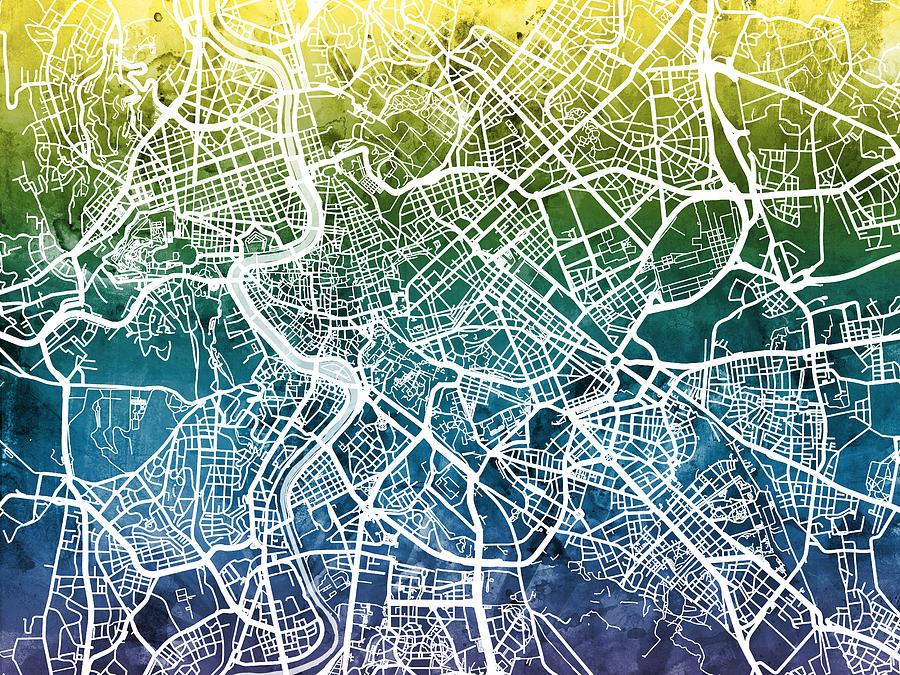 Rome Italy City Street Map Digital Art by Michael Tompsett