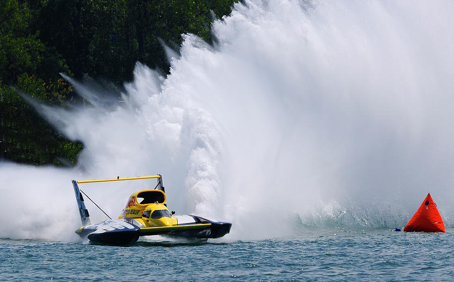 Annual Event Photograph - Roostertail From Racing Hydroplanes Boats On The Detroit River For Gold Cup by Bruce Beck