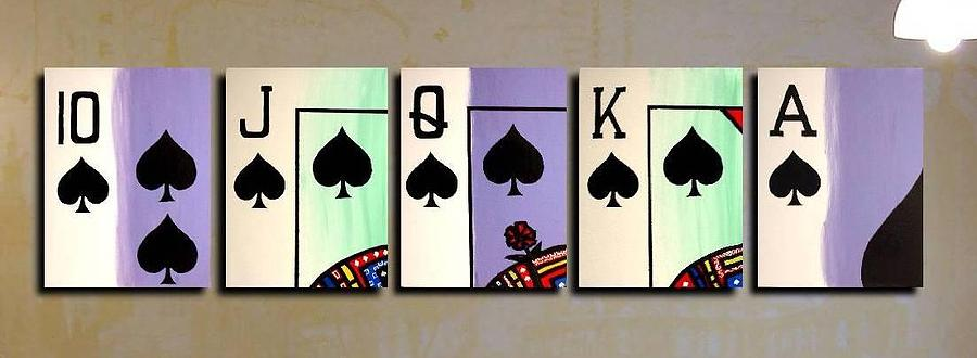 Royal Flush Painting - Royal Flush Of Spades Poker Art by Teo Alfonso