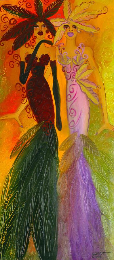 Mermaid Artwork Painting - Ruby And April  by Helen Gerro