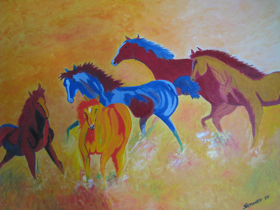Horses Painting - Running In A Dust by Saman Khan