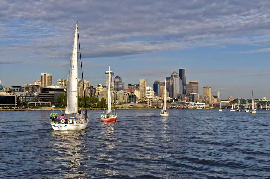 Seattle Photograph - Sailing To Seattle by Tom Dowd
