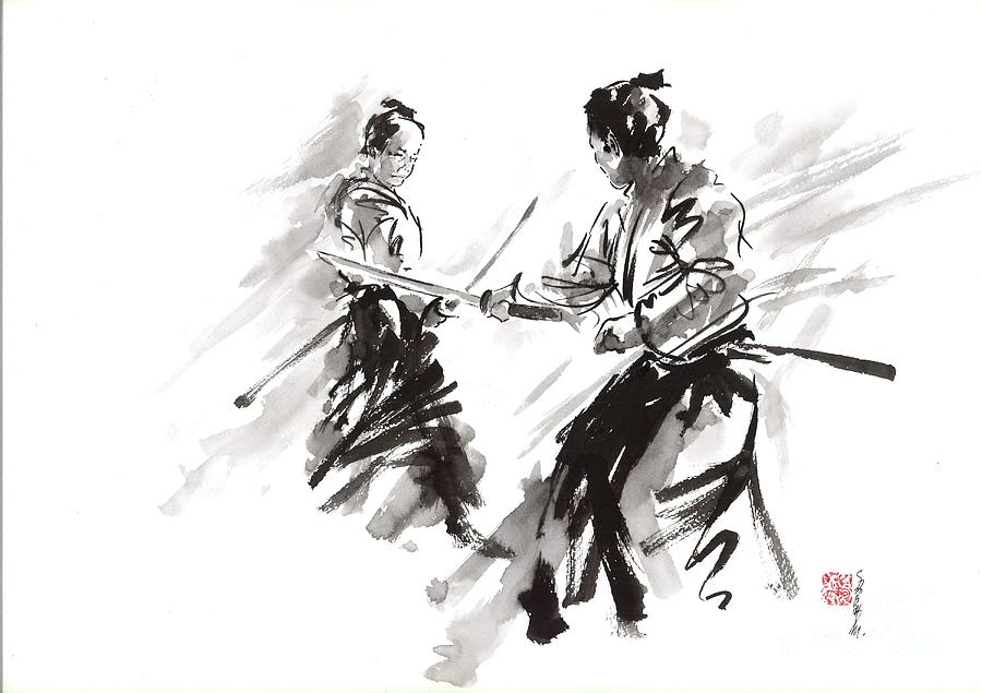 Samurai Fight Painting By Mariusz Szmerdt
