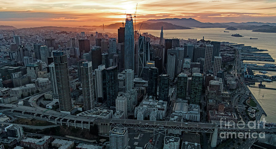 Financial District Photograph - San Francisco City Skyline At Sunset Aerial by David Oppenheimer