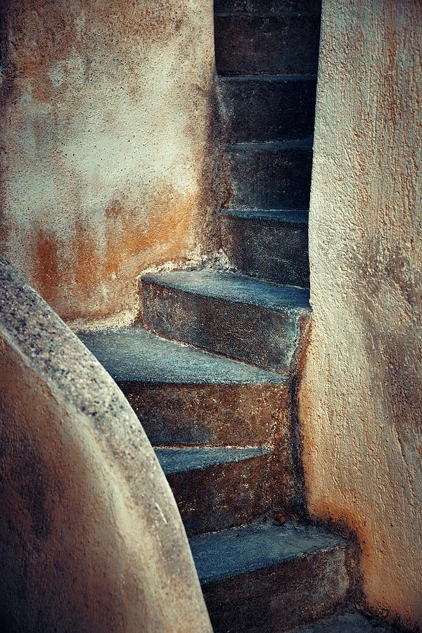 Greece Photograph - Santorini Island Stairs by Songquan Deng