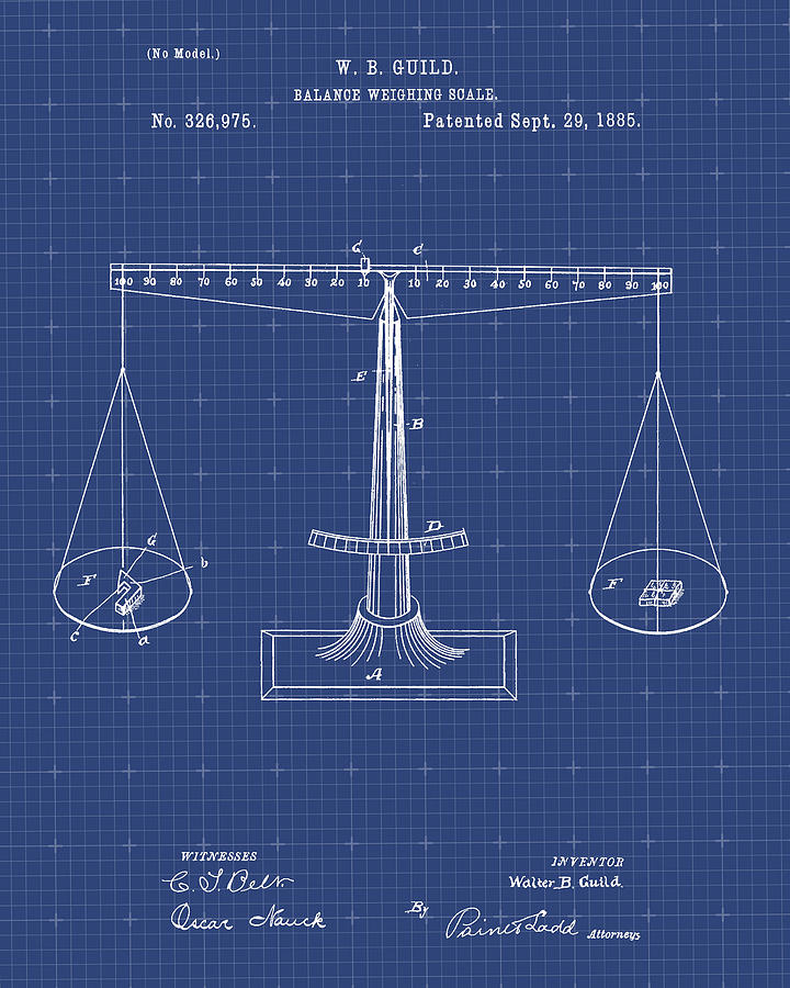 Scales of justice patent print digital art by visual design blueprint digital art scales of justice patent print by visual design malvernweather Image collections