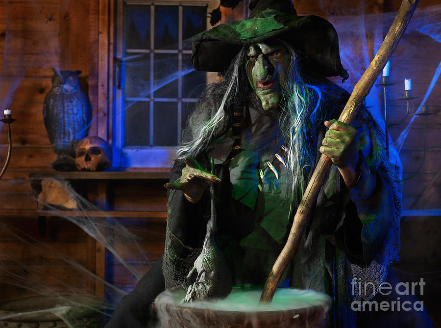 Witch Photograph - Scary Old Witch With A Cauldron by Oleksiy Maksymenko