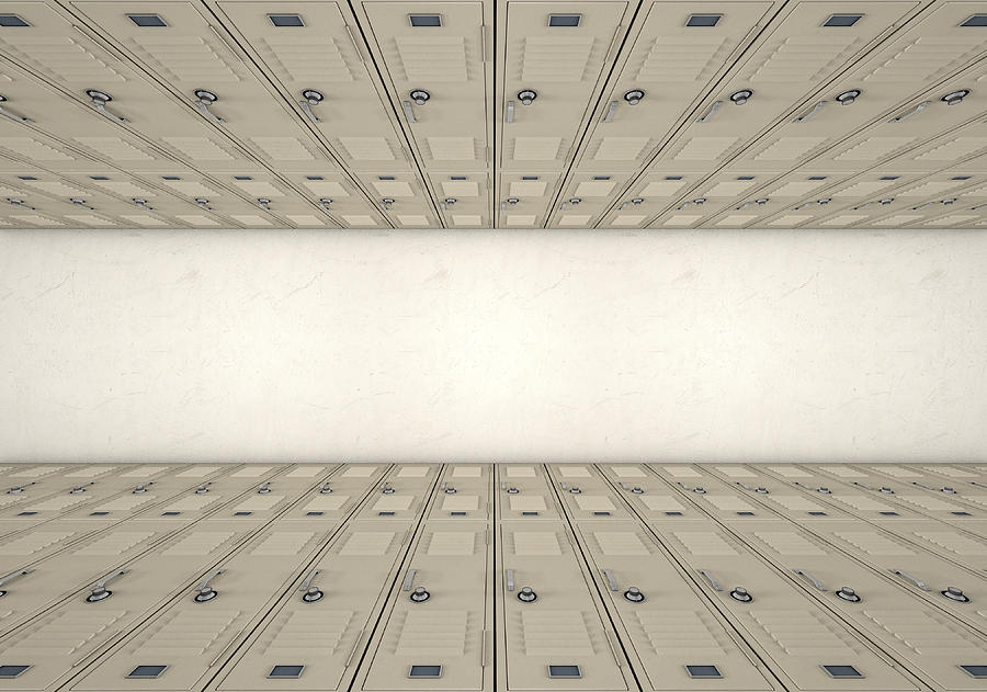 Locker Digital Art - School Locker Corridor 2 by Allan Swart
