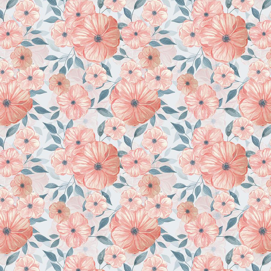 Seamless Watercolor Floral Pattern Painting By Katerina Kirilova